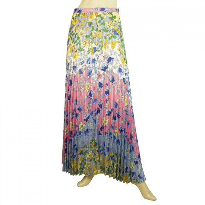 Dondup Multicolored Floral Maxi Long Length Pleated Polyester Skirt size 42