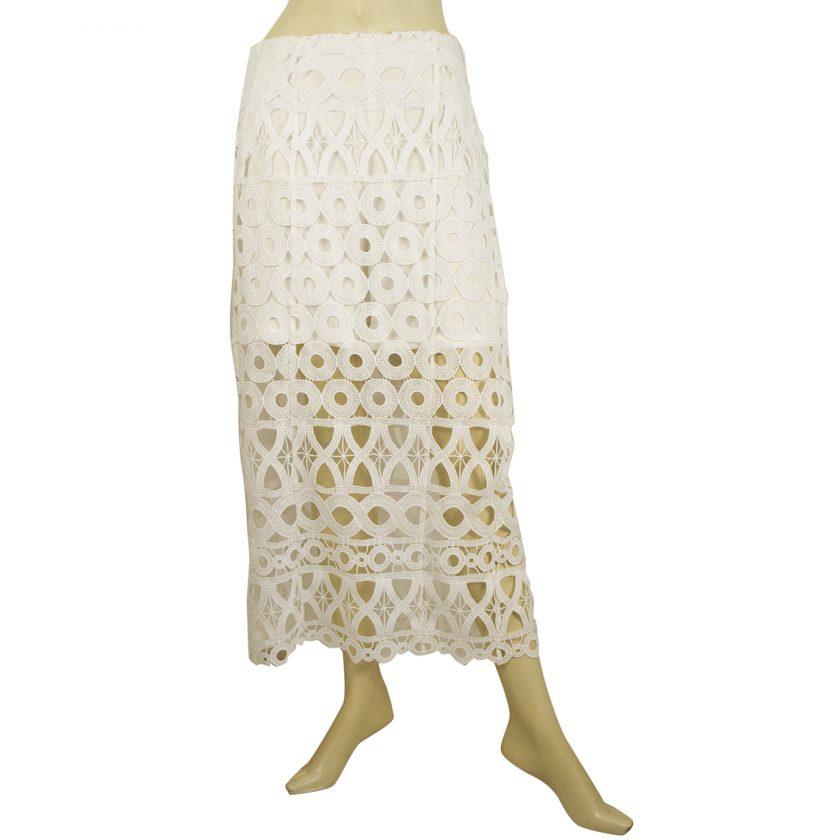 Dondup White Lace Calf Length Summer Skirt w. inner shorts