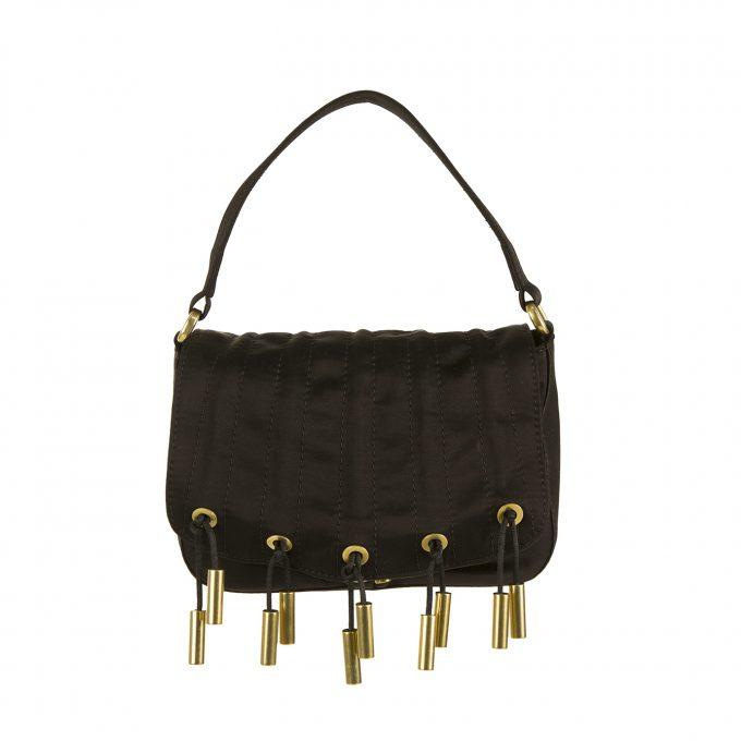 Donna Karan Collection Black Silk Gold tone Metallic Fringes Evening Flap Bag