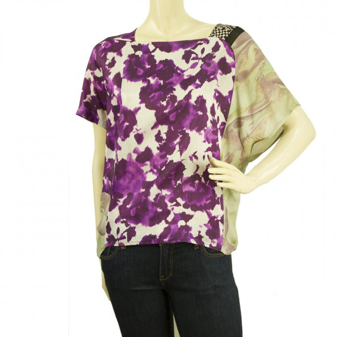 Dries Van Noten Floral Purple 100% Silk Loose Fit Dolman Top Blouse sz 40