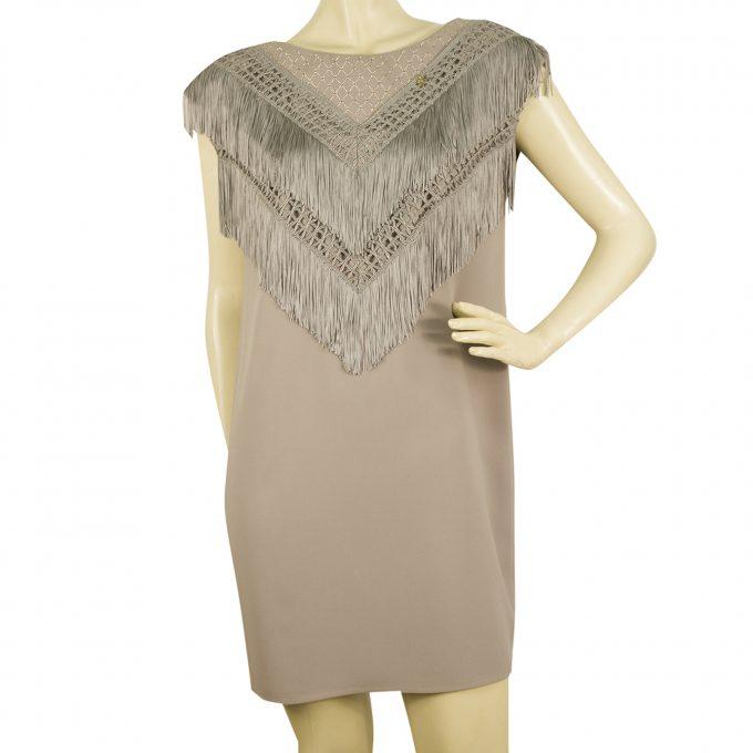 Elisabetta Franchi GOLD Embellished Fringed Gray Mini Sleeveless Dress sz 44
