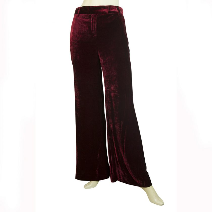 Emilio Pucci Burgundy Red Velour Silk Blend Flare Trousers Pants size 38 It