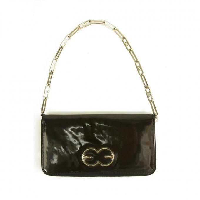 Escada Black Patent Leather Zip Around Chain Shoulder Bag Clutch Handbag Purse