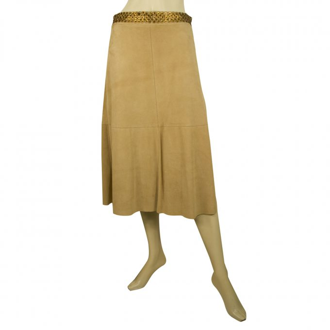 Fabrizio Corsi Leather Suede Beige Calf Length Skirt Sequins Size 42