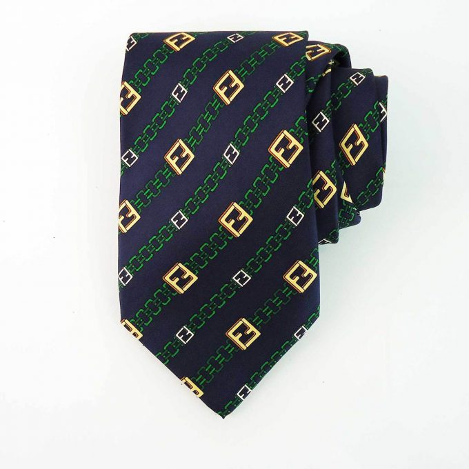 Fendi 100% Silk Blue Green Yellow Monogram FF Chain Men's Neck Tie Necktie