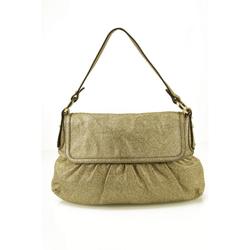 Fendi 'Chef' Gold Leather Shoulder Bag Shiny Soft Leather Flap Handbag