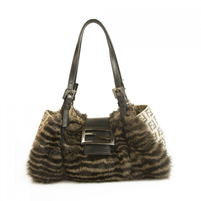Fendi Genuine Fur Brown Beige Signature Canvas small Satchel Handbag Bag Purse