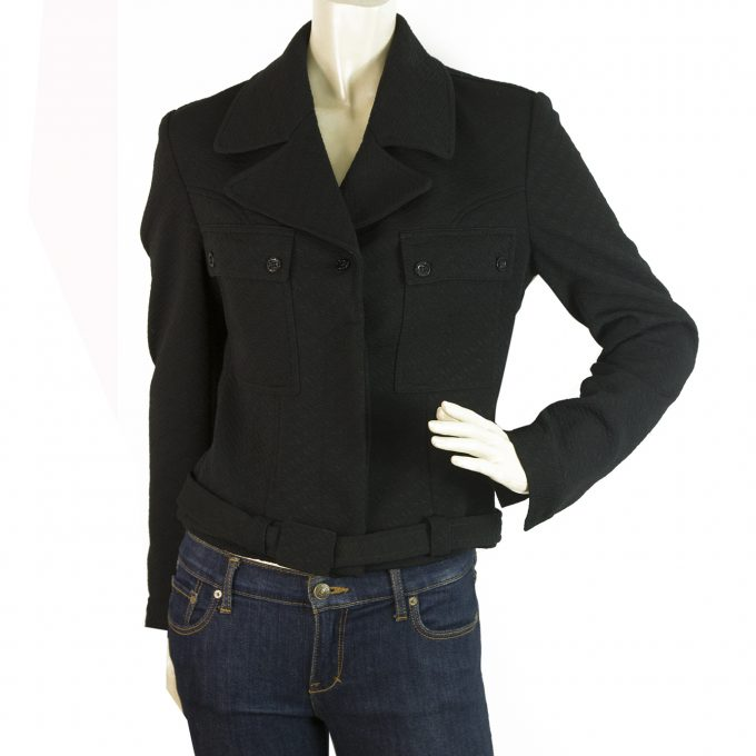 Fendi Black Single Brusted Belted Womans Logo Buttons Short Jacket - Size 42