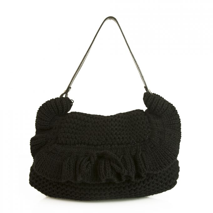 Fendi Chef Ruffle Crocheted Knit Flap Black Wool Shoulder Bag 2005 Collection