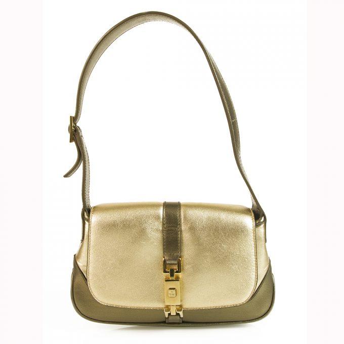 Gucci Mini Jackie-O Gold & Bronze Leather Flap Top Shoulder Evening Bag Handbag