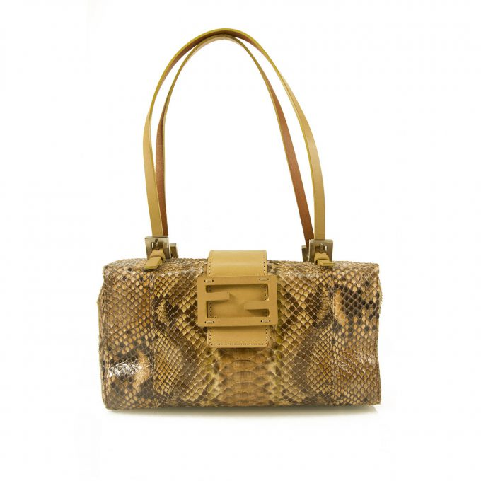 Fendi Python Leather Box Bag Shoulder Evening Handbag Purse