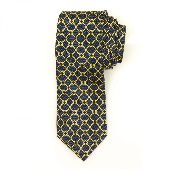 Louis Feraud 100% Silk Blue Yellow Chain Men's Neck Tie Necktie