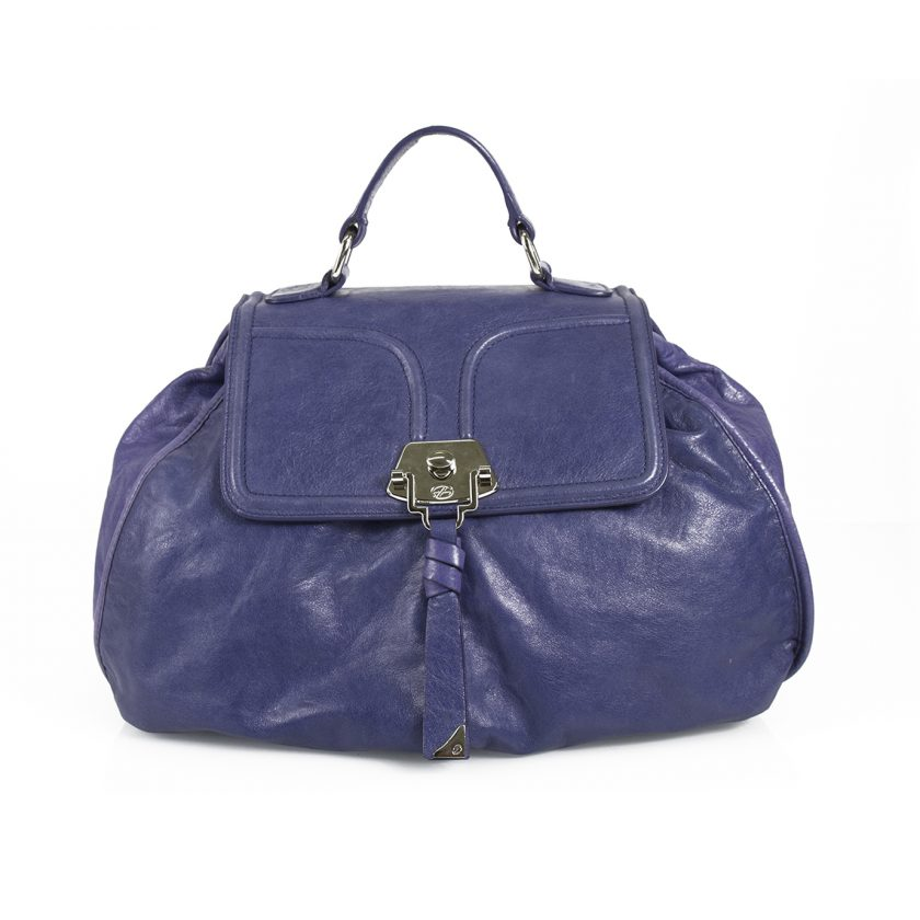Francesco Biasia Blue Leather Top Handle Crossbody Shoulder Bag Handbag