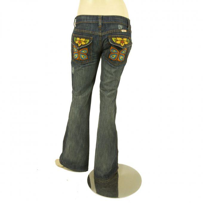 Frankie B Medium Blue Jeans Denim Pants sz 6 with butterfly stitched back pocket