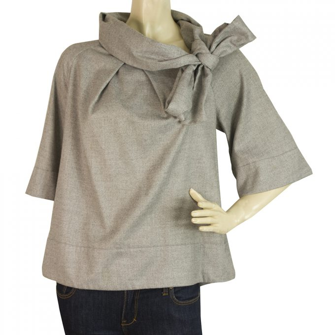 French Connection Gray Swing Style Top w. Back Slit & Bow Blouse size 10