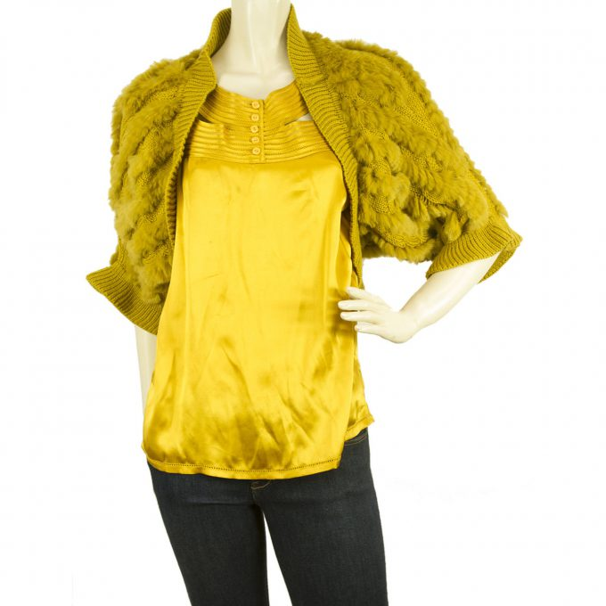 Fullah Sugah Mustard Yellow Rabbit Fur Short Bolero Cardi Cropped Cardigan M / L