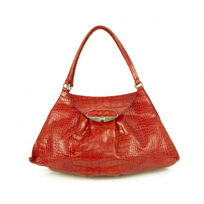 Furla Red Crocodile Embossed Leather Flap Top Shopper Tote Shoulder Bag Handbag