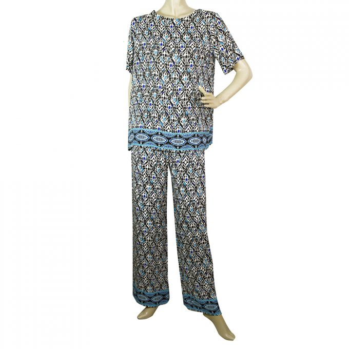 Fuzzi Blue & Black Pattern Tunic Top and Pants Trousers Viscose Set sz 42