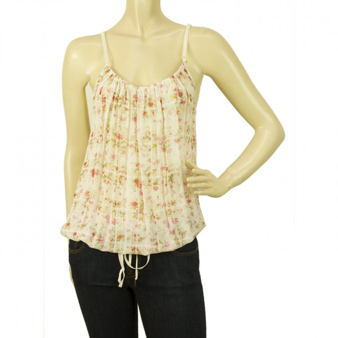 Galliano Floral Pink Green Spaghetti Adjustable Straps Vest Tunic Top - Sz 40
