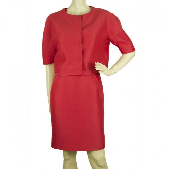Giambattista Valli Deep Salmon Pink Saumon Short Jacket Dress Suit Set sz 42 S