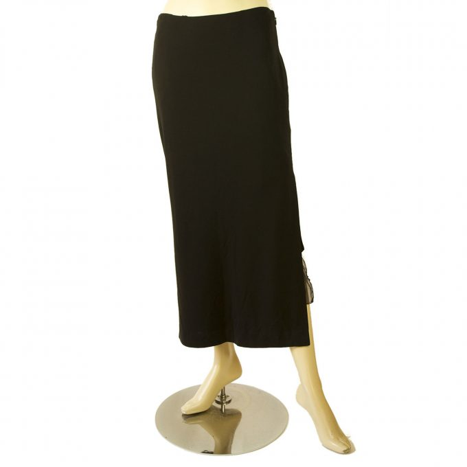Gigli Black Long Skirt with Silk Panel at the Side Slit size 44 It