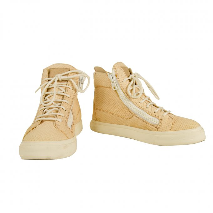 Giuseppe Zannotti Hip Hop Embossed Leather Sneakers High Top Sneaker sz 37 Shoes
