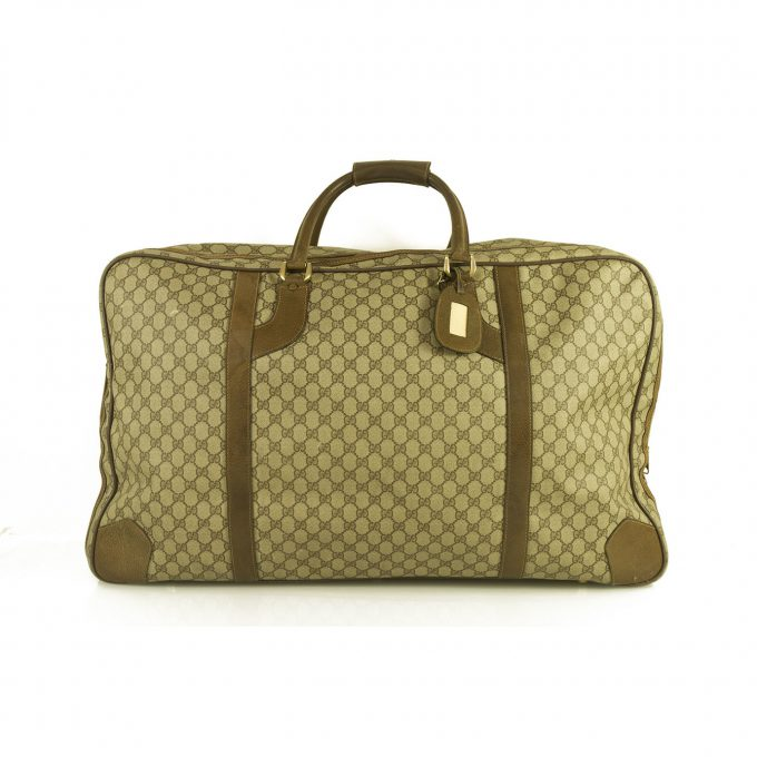 GUCCI Vintage Monogram Canvas Leather Suitcase Brown Luggage Travel Bag Large