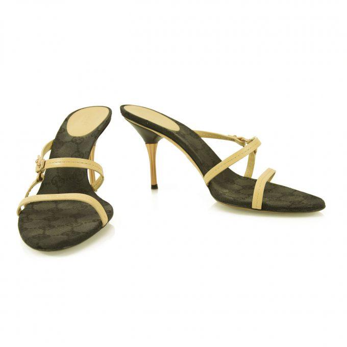 Gucci Beige Leather Black Lining Bronze Heel Slides Mules Sandals sz 37.5 Shoes