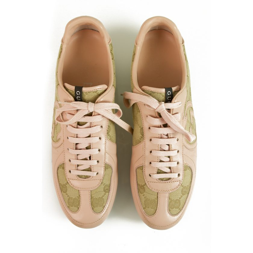 Gucci Pink Leather and GG monogram canvas designer sneakers trainers Shoes 38