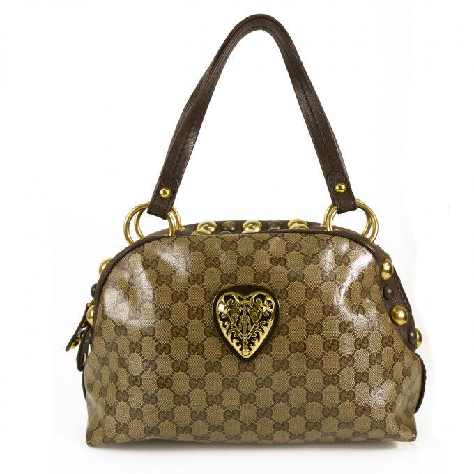 GUCCI GG Guccissima Beige/Ebony Crystal Canvas Medium Babouska Dome Bag