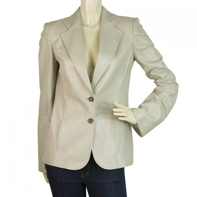 Gucci Beige Leather Jacket Two Buttons Blazer Slightly Bell Sleeves size 40