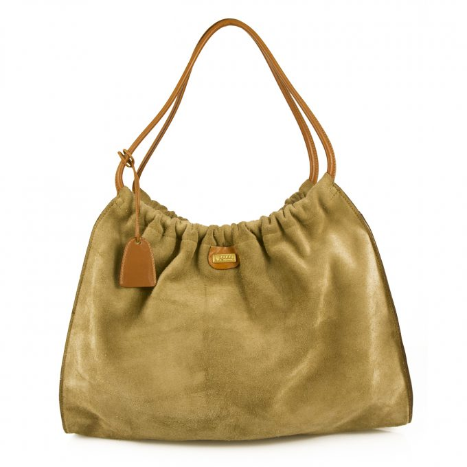 GUCCI Green Suede Tan Brown Leather Pouch Like Shoulder Bag Handbag