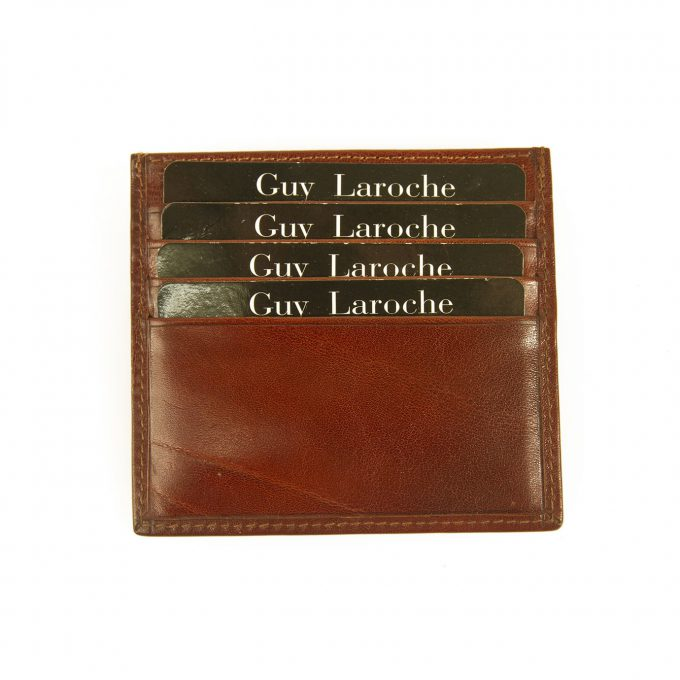 Guy Laroche Unisex Brown Leather Business Credit Card Holder New with Box