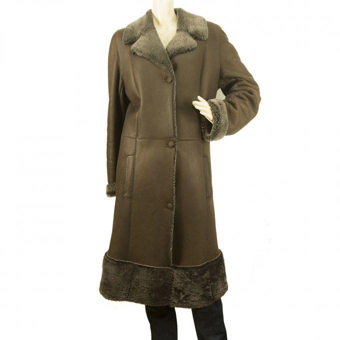Guy Laroche Brown Genuine Sheepskin Long Coat size S