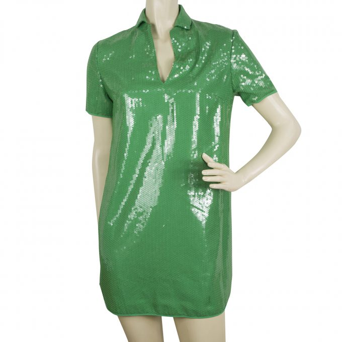 Halston Heritage Bright Green Fully Sequined Mini Length Dress size XS