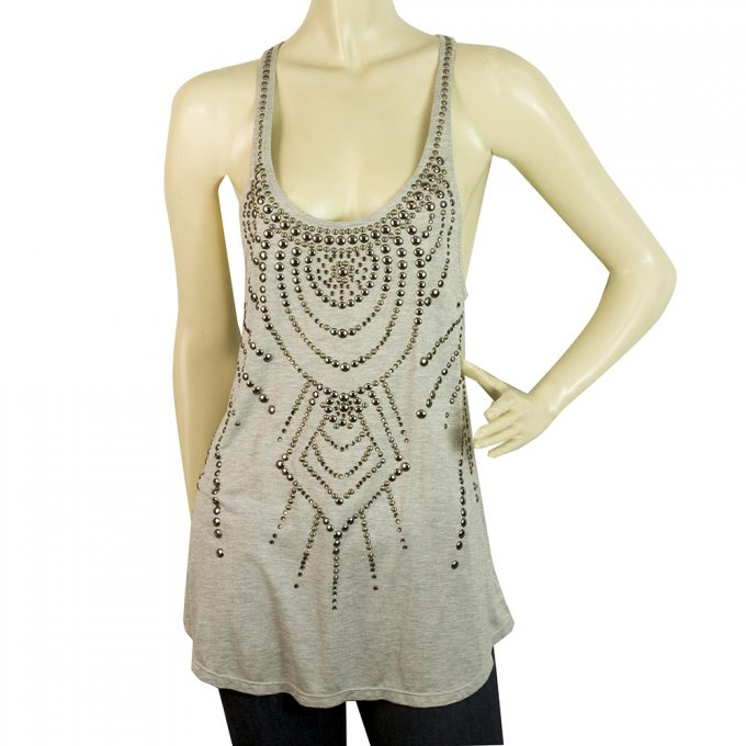 Haute Hippie Gray Silver Brass Tone Studs Long Tank Sleeveless top Sz M