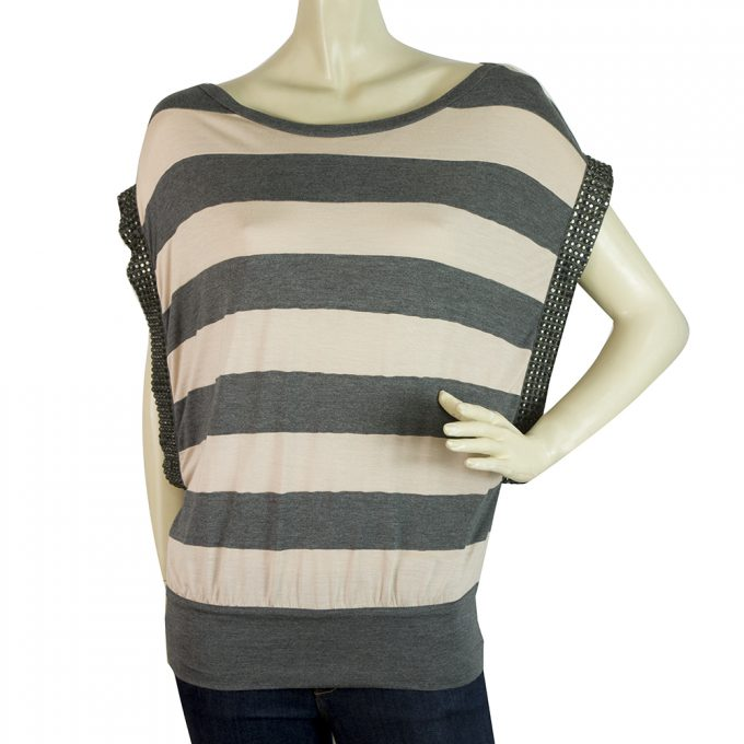 Haute Hippie Gray Pink Striped Beaded Sides Tank Sleeveless top Sz M / L