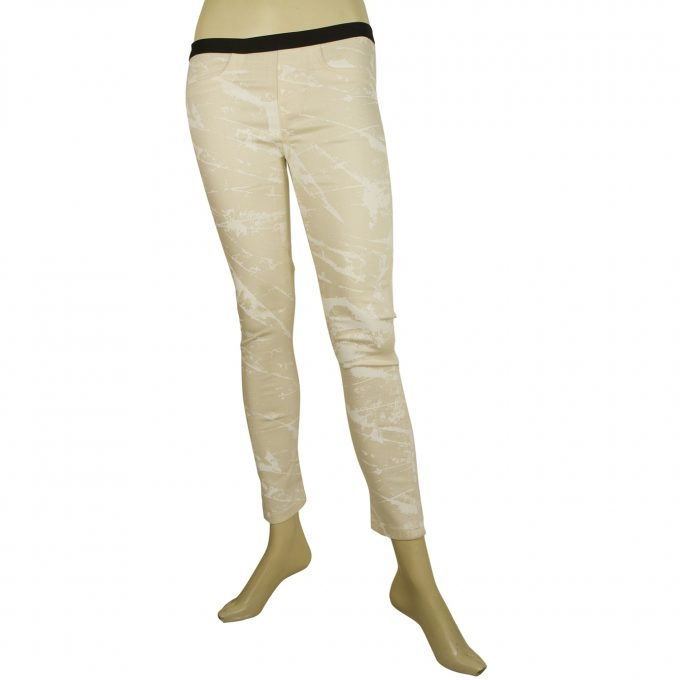 Helmut Lang Cream White Marble pattern Jeggins Skinny jeans trousers pants 25