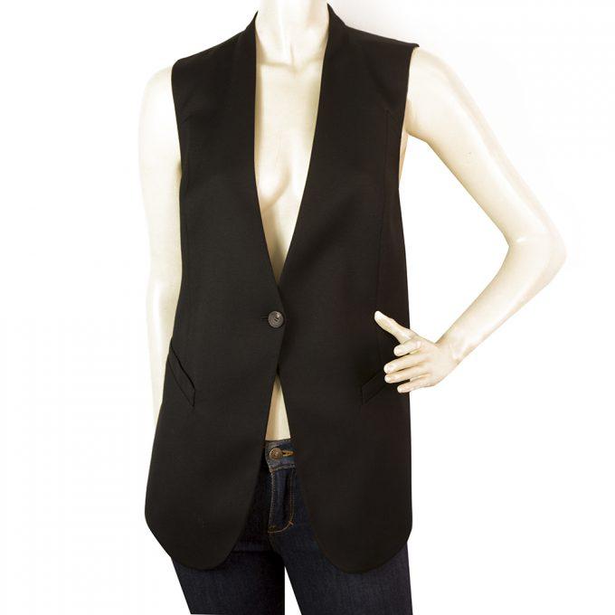 Helmut Lang Black Wool Long Top Sexy Cuts Back Gillet Cardi vest size M