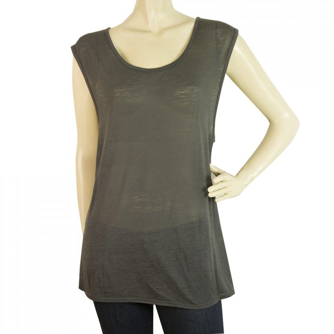 Helmut Lang Gray Long Blouse Wide Cap Sleeves T-Shirt Top Size S