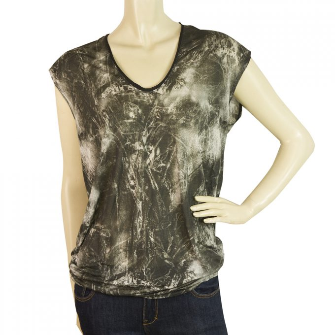 Helmut Lang Gray Tie Dye Effect Long Blouse Sleeveless T-Shirt Top Size S