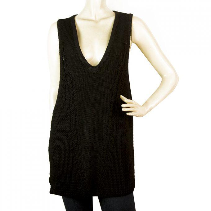 Helmut Lang Black Linen Blend Knitted Oversize V - Neckline Vest Long Top Size S