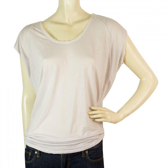 Helmut Lang Light Lavender Silk Back Panel Blouse Cap Sleeves T-Shirt Top Size P