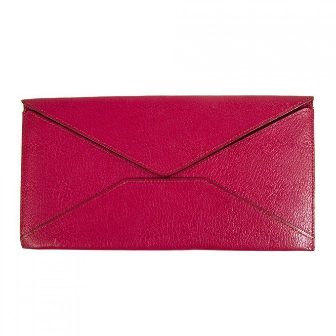 Hermes Fuchsia Long Leather Envelope Wallet Letter Ticket Travel Passport Holder