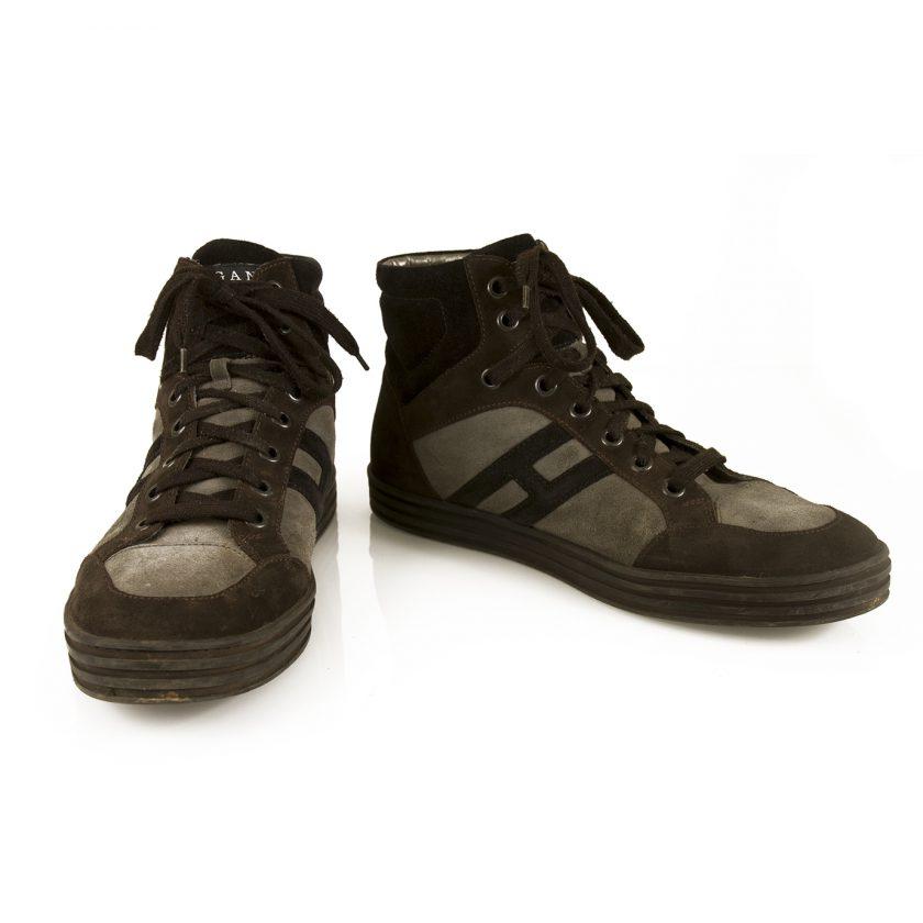 Hogan Men's Rebel Basket High top Sneakers Shoes Gray Brown Black Suede size 10