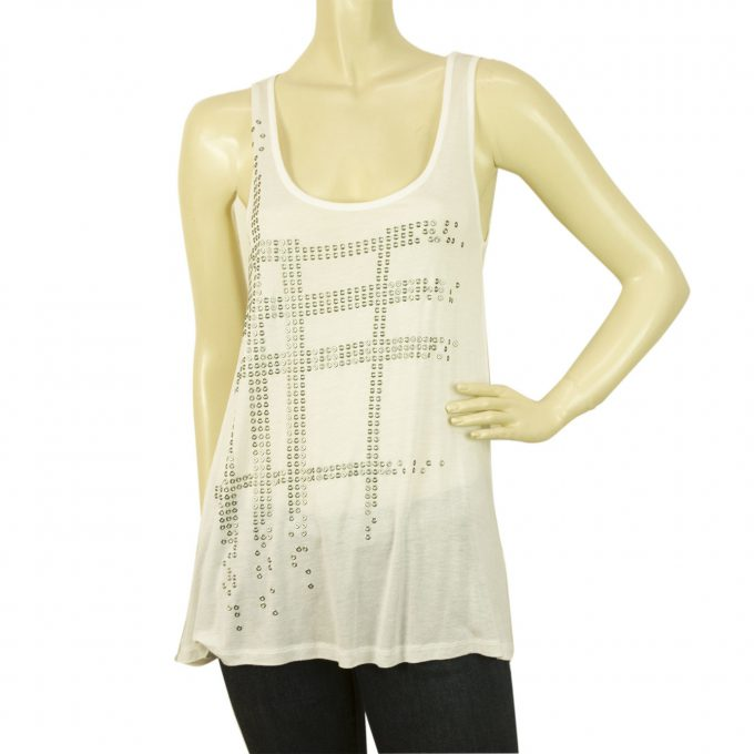 Burberry Brit White w. Silver Nova Check Long Sleeveless Tank Vest Top SZ XS