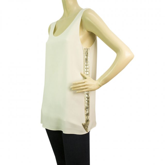 Chloe 2013 runway white sleeveless arrow mirror top FR 36 Retailed for $1500