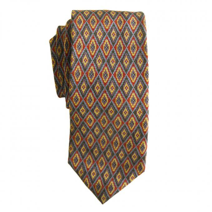 Yves Saint Laurent Silk Red Blue Yellow Rhombus Geometrical Neck Tie Necktie