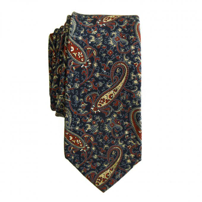 Yves Saint Laurent YSL Silk Blue Ecaille Paisleys Neck Tie Necktie
