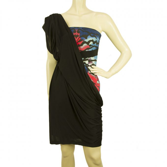 Pinko Black Blue Red One Shoulder Draped sequins Mini Dress sz 42